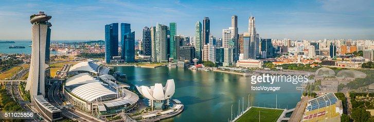 Singapore downtown CBD skyscrapers overlooking Marina Bay futuristic cityscape panorama