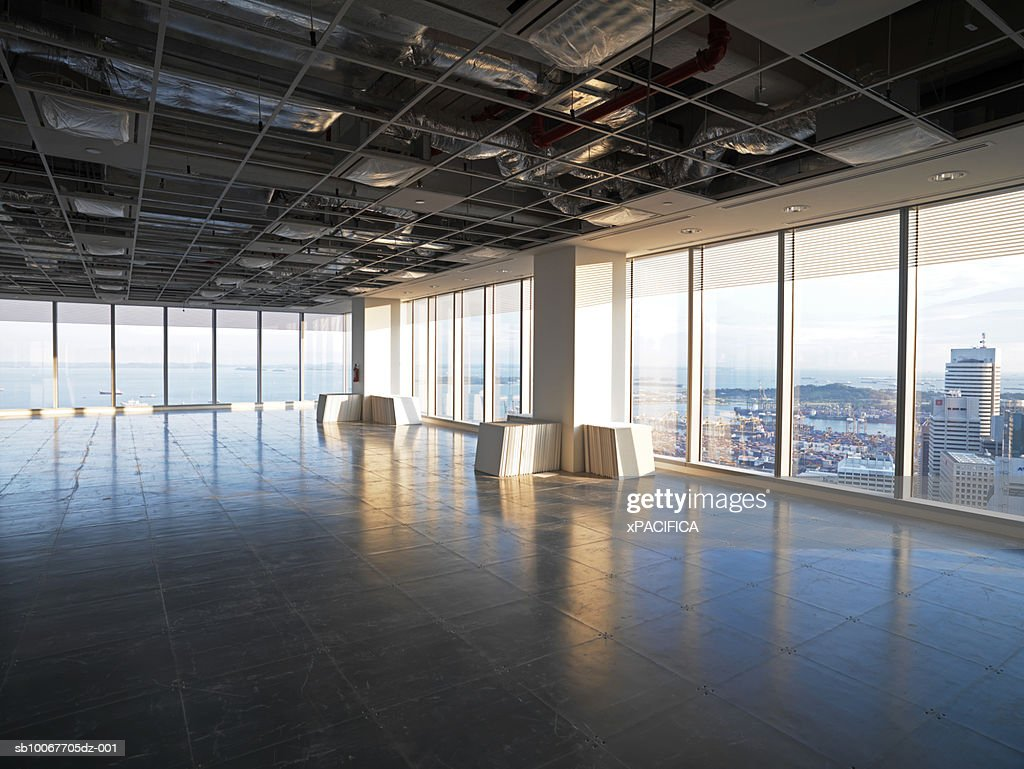 Singapore, empty floor of high rise building under construction : Stock Photo