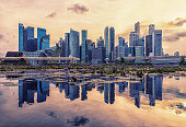 View of Marina Bay at sunset in Singapore City, Singapore