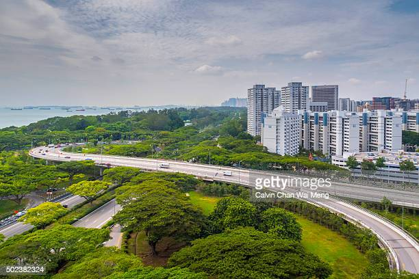 Singapore housing estate and traffic flyover highway
