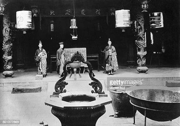 Singapore inside view of the Chinese Thian Hock Keng Temple probably in the 1910s