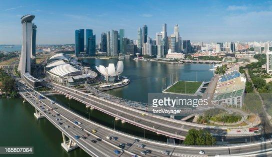 Singapore Marina Bay CBD landmarks aerial panorama