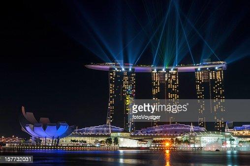 Singapore Marina Bay Sands Hotel colourful laser lightshow