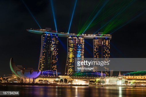 Singapore Marina Bay Sands night neon laser light show