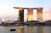 Singapore Marina Bay the Marina Bay Sands hotel and casino and the Art Science Museum
