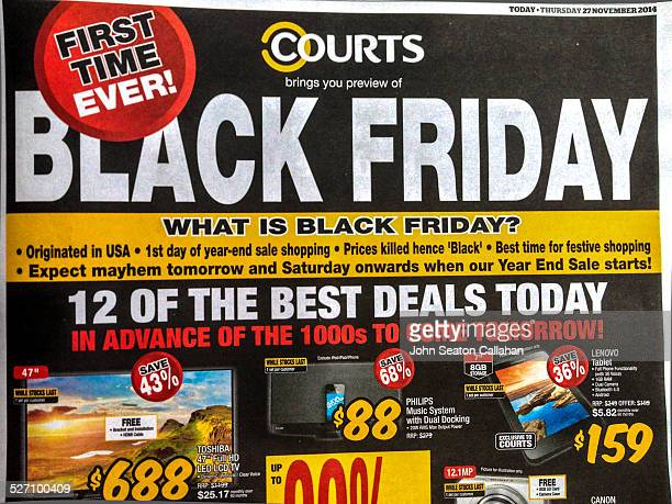 Singapore newspaper advertisement for Black Friday from Courts an Australian retailer with an explanation of what 'Black Friday' means on 27 November...