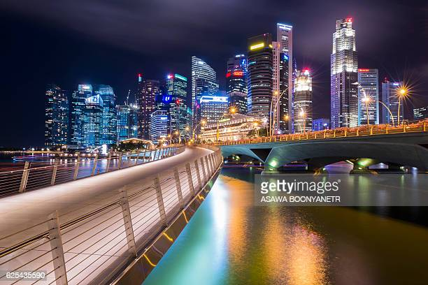 Singapore Night town from marina bay