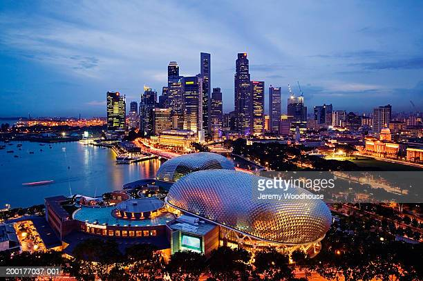 Singapore, Singapore City, city skyline at dusk, elevated view