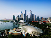 Singapore, Singapore City, city skyline, elevated view
