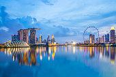 Singapore Skyline and view of Marina Bay at twilight.