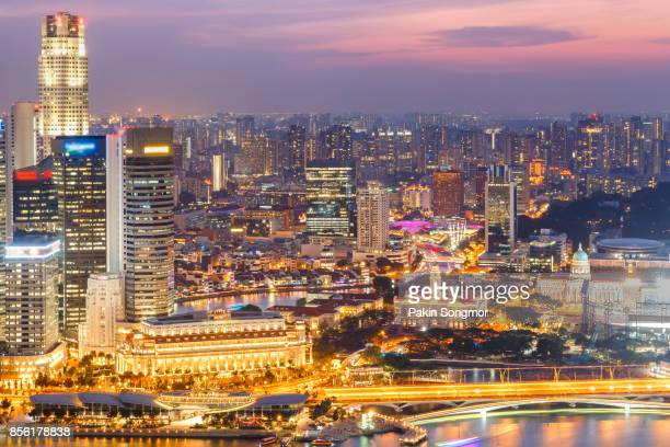 Singapore skyline and view of the financial district