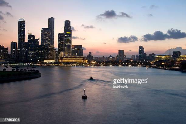 Singapore skyline at sunset at Marina Bay