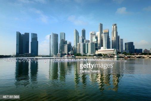 Singapore skyline on a blue sunny day