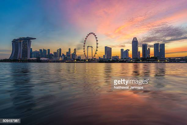 Singapore skyline showing Marina Bay Sands and the Singapore Flyer