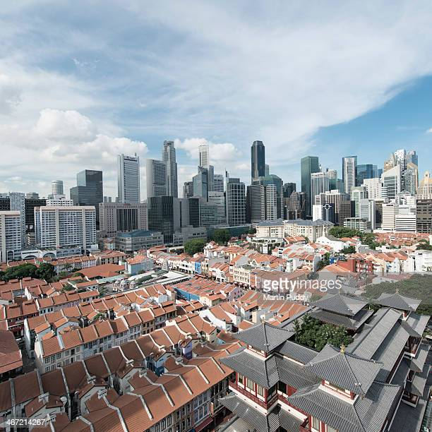 Singapore skyline, with Chinatown in foreground