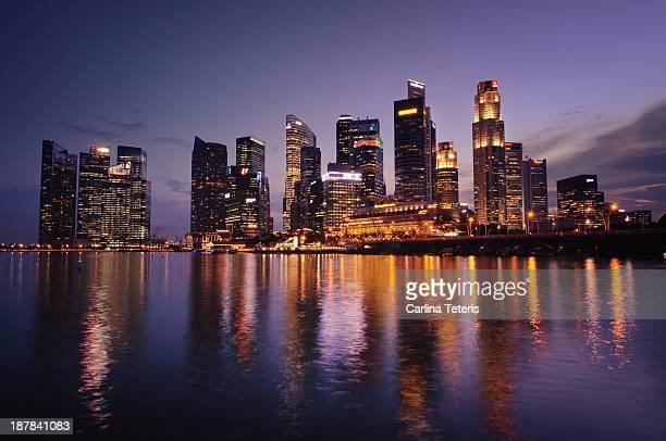 Singapore skyline with purple sky