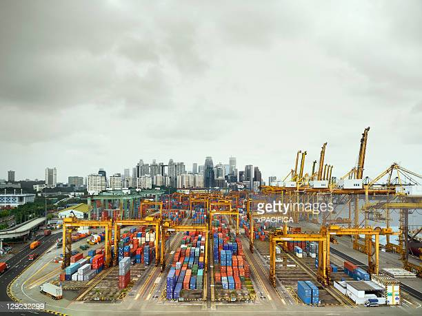 Singapore's container terminal on a cloudy day.