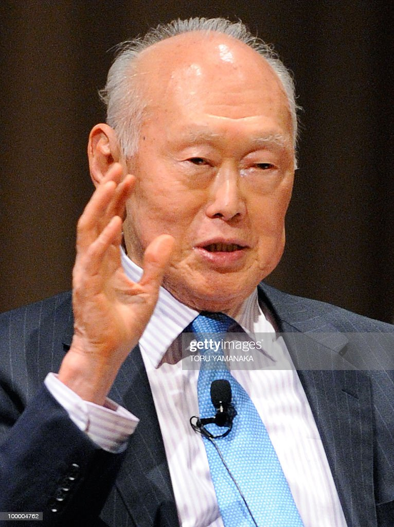 Singapore's former prime minister Lee Kuan Yew gestures as he speaks at an international conference in Tokyo on May 20, 2010. Asian political, diplomatic, business and academic leaders attend the two-day symposium, entitled 'The Future of Asia.' AFP PHOTO/Toru YAMANAKA