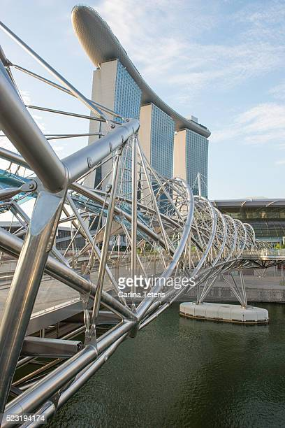 Singapore's iconic helix bridge with Marina Bay Sands in the background