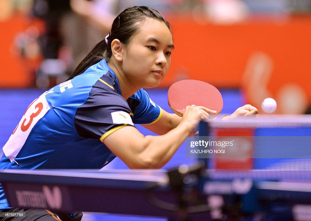 Singapore's Li Isabelle Siyun returns a shot against France's Laura Gasnier during their match in the women's team championship division group C at the 2014 World Team Table Tennis Championships in Tokyo on May 1, 2014. AFP PHOTO / KAZUHIRO NOGI
