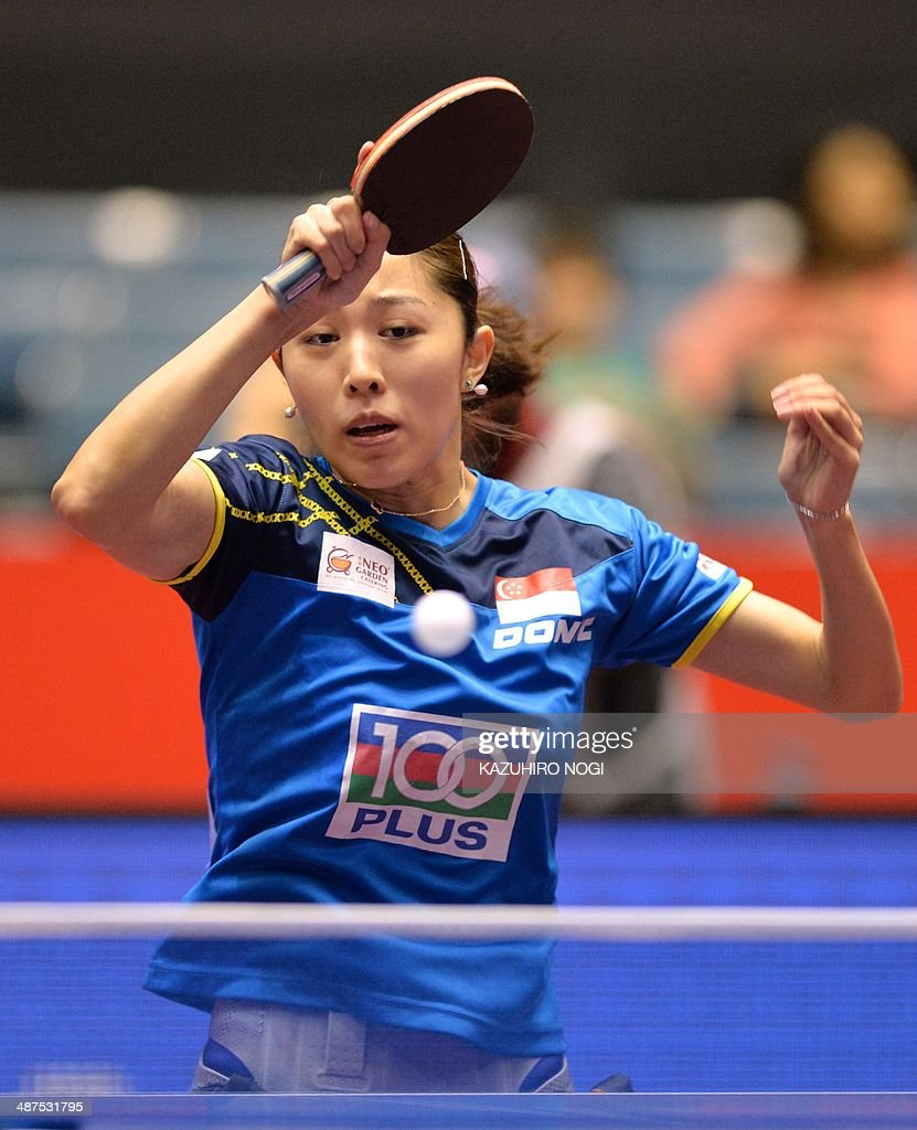Singapore's Yu Mengyu returns a shot against France's Audrey Zarif during their match in the women's team championship division group C at the 2014 World Team Table Tennis Championships in Tokyo on May 1, 2014.