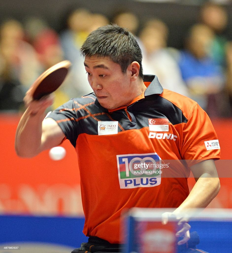 Singapre's Gao Ning returns a shot against Croatia's Tomislav Kolarek during their match in the men's team championship division group B at the 2014 World Team Table Tennis Championships in Tokyo on May 1, 2014.