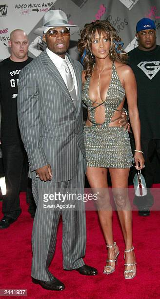Singer 50 Cent and Actress Vivica A Fox arrive to the 2003 MTV Video Music Awards at Radio City Music Hall on August 28 2003 in New York City