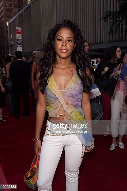 Singer Aaliyah arrives for the world premiere of the 20th Century Fox film 'Planet of the Apes' at the Ziegfeld Theater in New York City 7/23/01...