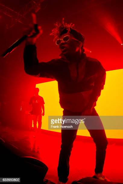 Singer Aaquil Brown aka Slim Jimmy and Khalif Brown aka Swae Lee of the American band Rae Sremmurd perform live during a concert at the Kesselhaus on...