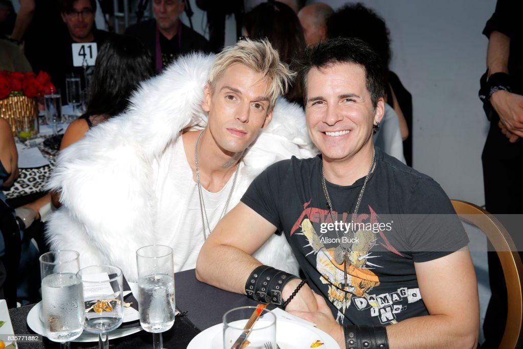 Singer Aaron Carter and actor Hal Sparks attend Project Angel Food's 2017 Angel Awards on August 19, 2017 in Los Angeles, California.