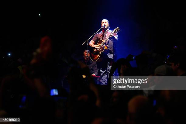 Singer Aaron Lewis performs during the UFC 189 event inside MGM Grand Garden Arena on July 11 2015 in Las Vegas Nevada