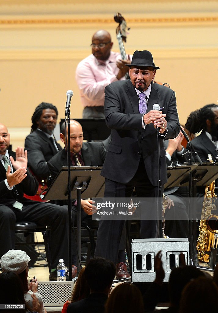 Singer <a gi-track='captionPersonalityLinkClicked' href=/galleries/search?phrase=Aaron+Neville&family=editorial&specificpeople=561717 ng-click='$event.stopPropagation()'>Aaron Neville</a> and The New Orleans Jazz Orchestra perform at Carnegie Hall on October 8, 2012 in New York, New York.
