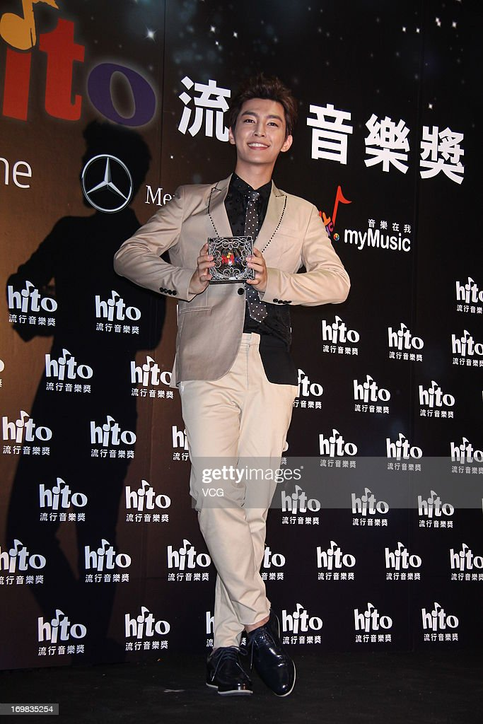 Singer <a gi-track='captionPersonalityLinkClicked' href=/galleries/search?phrase=Aaron+Yan&family=editorial&specificpeople=6379153 ng-click='$event.stopPropagation()'>Aaron Yan</a> attends 2013 Hito Music Awards at Taipei Arena on June 2, 2013 in Taipei, Taiwan.