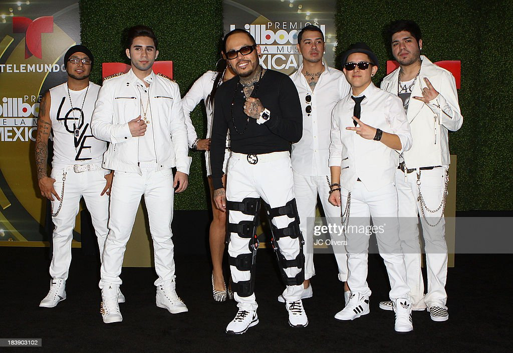 Singer AB Quintanilla III (C) and the Kumbia Kings pose for a photograph at The 2013 Billboard Mexican Music Awards - Press Room at Dolby Theatre on October 9, 2013 in Hollywood, California.
