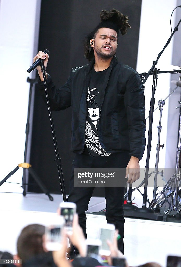 Singer Abel Tesfaye of <a gi-track='captionPersonalityLinkClicked' href=/galleries/search?phrase=The+Weeknd+-+Musician&family=editorial&specificpeople=8008743 ng-click='$event.stopPropagation()'>The Weeknd</a> Performs On NBC's 'Today' Show on May 7, 2015 in New York, New York.