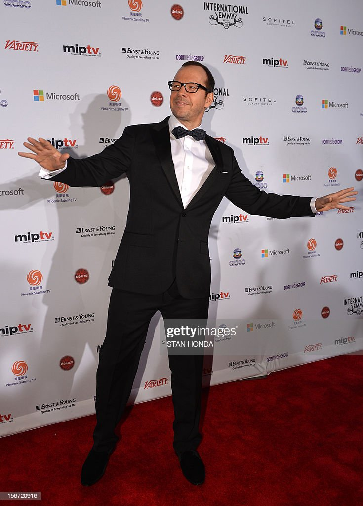US singer, actor and film producer Donnie Wahlberg arrives at the 40th International Emmy Awards November 19, 2012 in New York. AFP PHOTO/Stan HONDA
