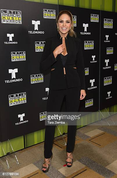 Singer actress and official host of the Latin American Music Awards Lucero speaks during a press conference hosted by Telemundo at Dolby Theatre on...