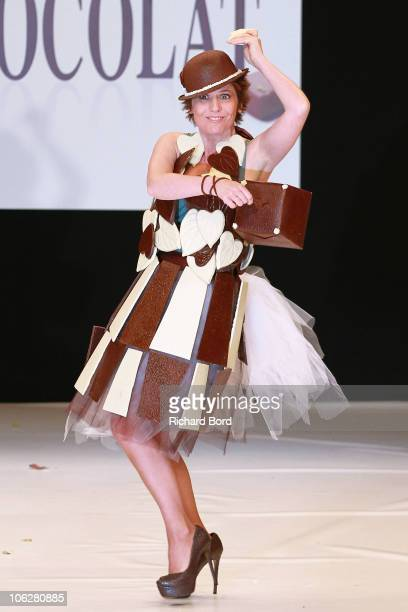 Singer actress and TV presenter Maureen Dor dressed by Stephane Bonnat for Fairtrade Max Havelaar and LeAF Generation walks the runway at the Salon...