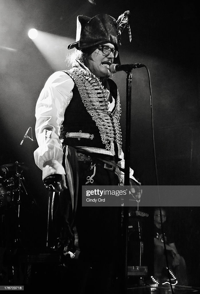 Singer <a gi-track='captionPersonalityLinkClicked' href=/galleries/search?phrase=Adam+Ant&family=editorial&specificpeople=1122689 ng-click='$event.stopPropagation()'>Adam Ant</a> performs at Irving Plaza on August 17, 2013 in New York City.