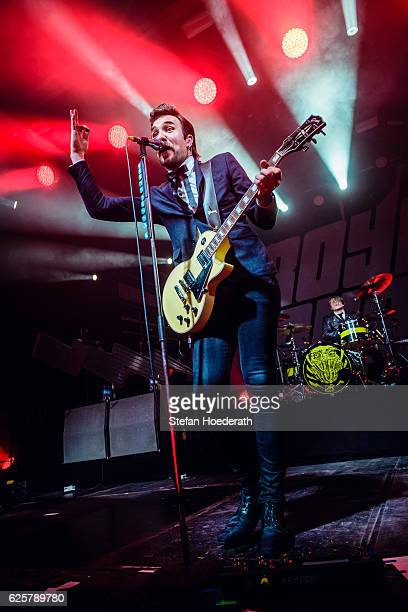 Singer Adam Grahn and drummer Per Andreasson of Royal Republic perform live on stage during a concert at Columbiahalle on November 25 2016 in Berlin...