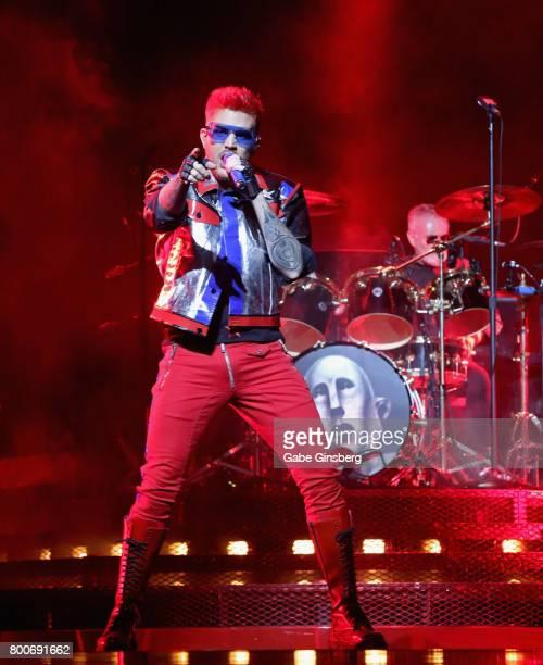 Singer Adam Lambert and drummer Roger Taylor of Queen Adam Lambert perform at TMobile Arena on June 24 2017 in Las Vegas Nevada