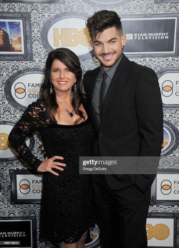 Singer Adam Lambert and mom Leila Lambert arrive at the Family Equality Council's Annual Los Angeles Awards Dinner at The Globe Theatre on February 8...