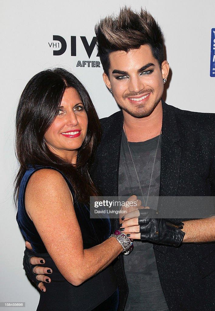 Singer Adam Lambert (R) and mother Leila Lambert attend the VH1 Divas After Party to benefit the VH1 Save The Music Foundation at the Shrine Expo Hall on December 16, 2012 in Los Angeles, California.