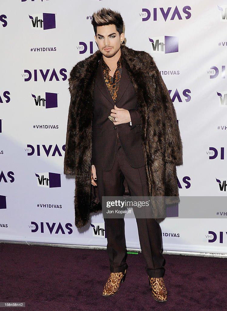 Singer Adam Lambert arrives at the 'VH1 Divas' 2012 at The Shrine Auditorium on December 16, 2012 in Los Angeles, California.