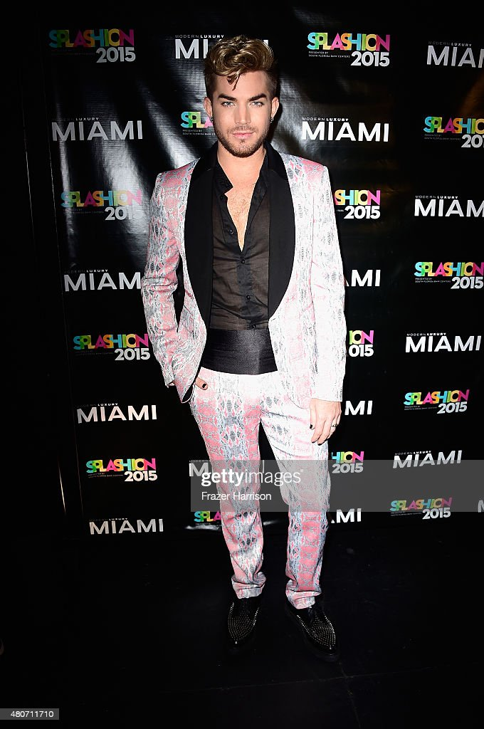Singer <a gi-track='captionPersonalityLinkClicked' href=/galleries/search?phrase=Adam+Lambert&family=editorial&specificpeople=5706674 ng-click='$event.stopPropagation()'>Adam Lambert</a> atends Miami Magazine's Splashion At Fillmore Miami Beach at Fillmore Miami Beach on July 14, 2015 in Miami Beach, Florida.