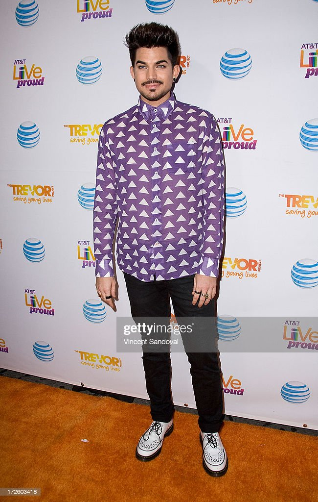 Singer Adam Lambert attends the Adam Lambert performance and check donation presentation to The Trevor Project for 'Live Proud' Campaign at Playhouse...