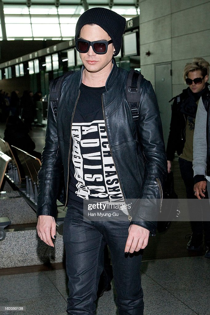 Singer <a gi-track='captionPersonalityLinkClicked' href=/galleries/search?phrase=Adam+Lambert&family=editorial&specificpeople=5706674 ng-click='$event.stopPropagation()'>Adam Lambert</a> is seen on departure at Incheon International Airport on February 18, 2013 in Incheon, South Korea.