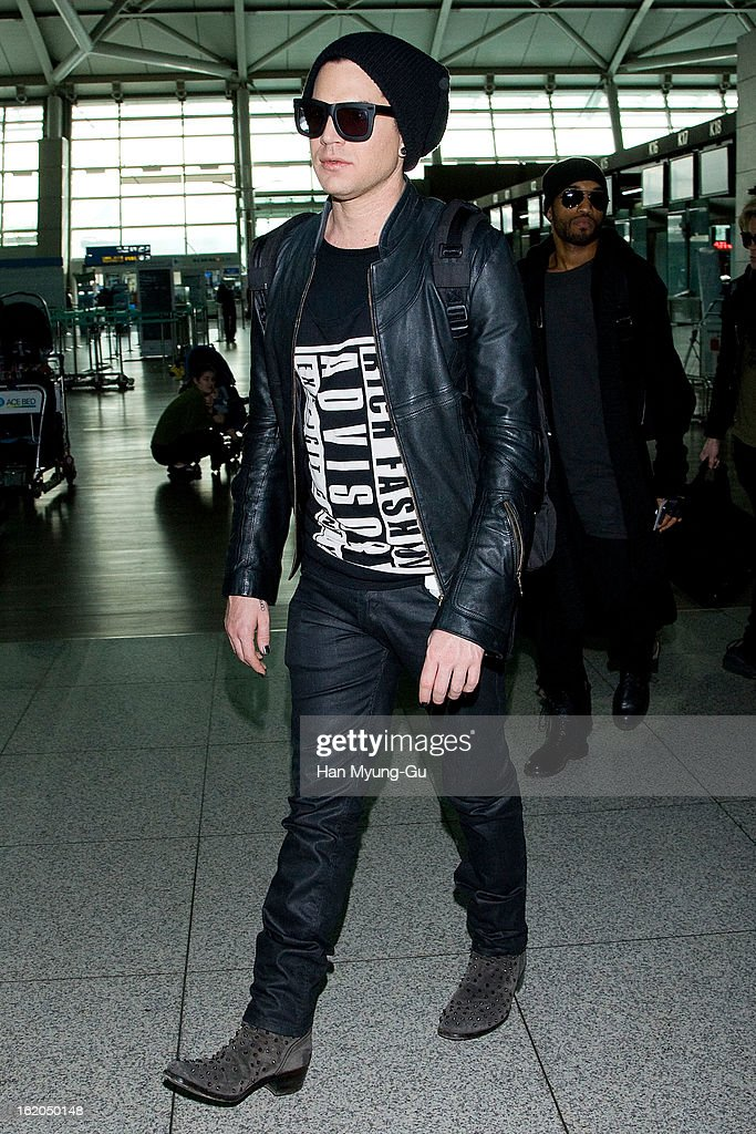 Singer Adam Lambert is seen on departure at Incheon International Airport on February 18, 2013 in Incheon, South Korea.