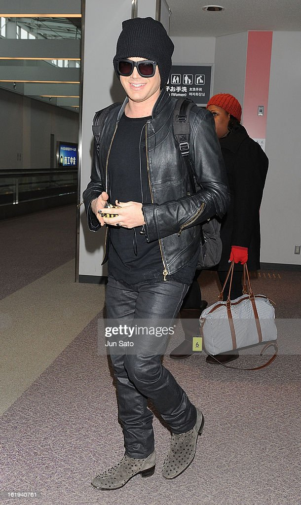 Singer Adam Lambert is seen upon arrival at Narita International Airport on February 18, 2013 in Narita, Japan.