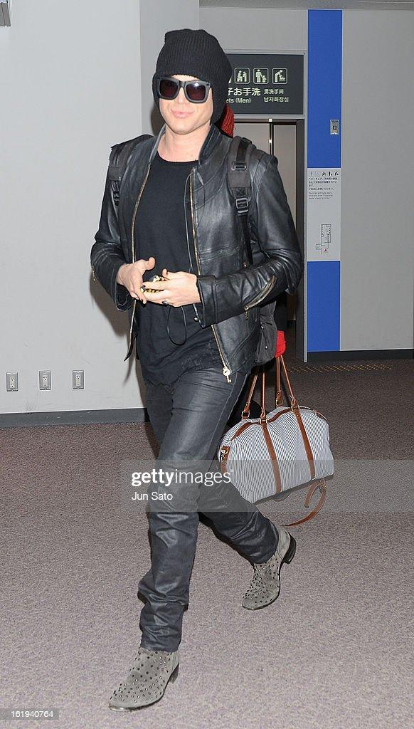 Singer Adam Lambert is seen upon arrival at Narita International Airport on February 18 2013 in Narita Japan